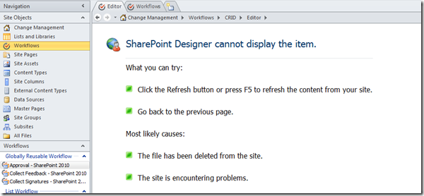 SharePoint Designer cannot display the item