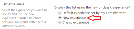 List Experience Setting